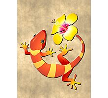 Orange and Yellow Jungle Lizard with Yellow Hibiscus/BACKGROUND Photographic Print