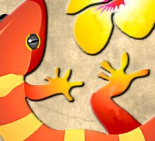 Orange and Yellow Jungle Lizard with Yellow Hibiscus/BACKGROUND Sticker
