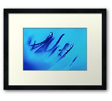 Water Droplets Abstract in Blue Framed Print