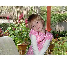 HAPPY GIRL ON PORCH Photographic Print