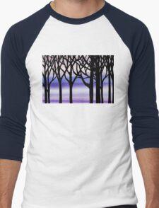 Abstract Forest Winter Blizzard  Men's Baseball ¾ T-Shirt