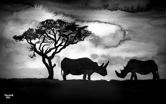 Rhinoceros silhouette by Elizabeth Kendall