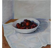 white bowl with plums Photographic Print
