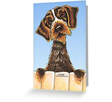 Wirehaired Pointing Griffon Over the Fence Greeting Card