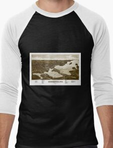 Panoramic Maps View of the city of Oconomowoc Wis Waukesha County 1885 002 Men's Baseball ¾ T-Shirt