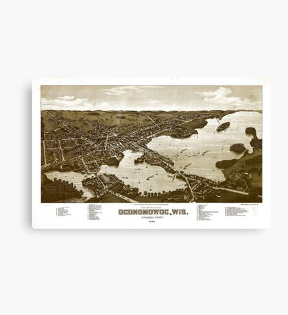 Panoramic Maps View of the city of Oconomowoc Wis Waukesha County 1885 002 Canvas Print