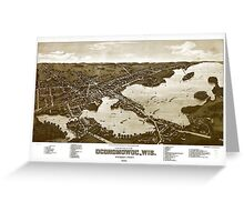 Panoramic Maps View of the city of Oconomowoc Wis Waukesha County 1885 002 Greeting Card