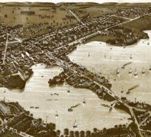 Panoramic Maps View of the city of Oconomowoc Wis Waukesha County 1885 002 Sticker