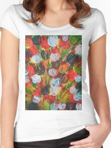 Explosion of Tulips Women's Fitted Scoop T-Shirt