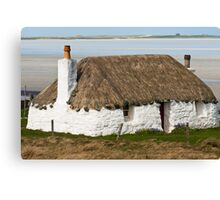 Building, Cottage, Thatched, White walls Canvas Print