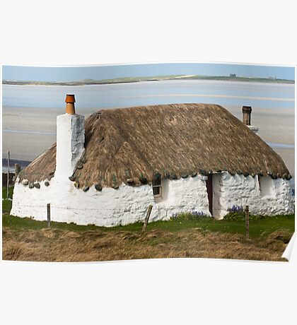 Building, Cottage, Thatched, White walls Poster