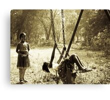 Girls on swing Canvas Print