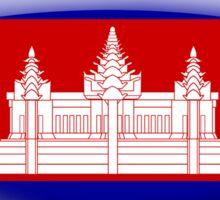 Cambodia Flag Glass Oval Die Cut Sticker Sticker