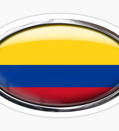 Colombia Flag Glass Oval Die Cut Sticker Sticker