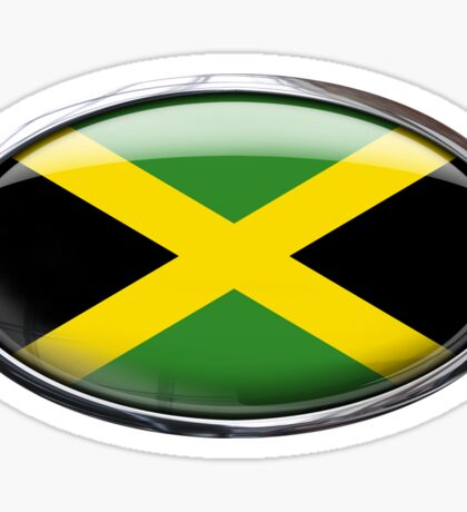 Jamaica Flag Glass Oval Die Cut Sticker Sticker