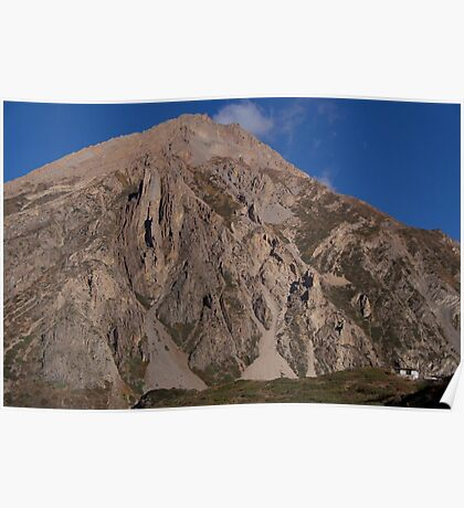 House Dwarfed by Mountain way to Thorung Phedi Poster