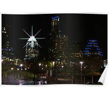Austin Night Skyline Poster