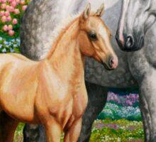 Quarter Horse Mare and Foal Blue Border Sticker