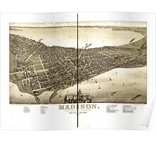 Panoramic Maps Madison State capital of Wisconsin county seat of Dane County 1885 Poster