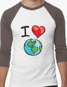 I heart earth Men's Baseball ¾ T-Shirt