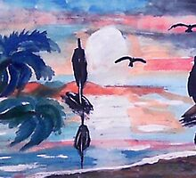 Sailing inthe bay,, watercolor by Anna  Lewis