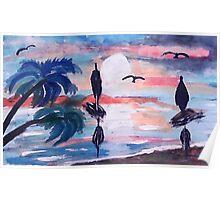 Sailing inthe bay,, watercolor Poster