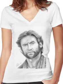 Hugh Jackman, the Wolverine! Women's Fitted V-Neck T-Shirt