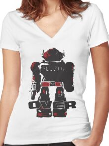 Robot Over Women's Fitted V-Neck T-Shirt