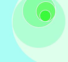 Green Fibonacci Spiral by jmcoleman