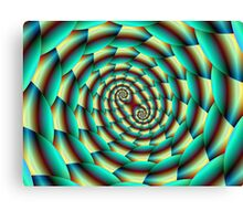 Snake Skin Spiral in Green and Yellow Canvas Print