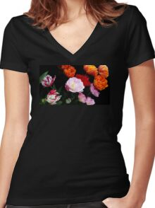 Dutch Tulips Women's Fitted V-Neck T-Shirt