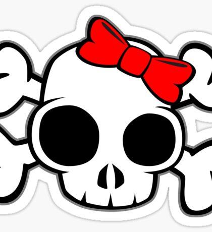 Skull & Crossbones Bow behind Sticker