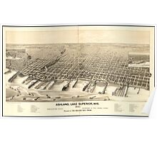 Panoramic Maps Ashland Lake Superior Wis 1890 Poster