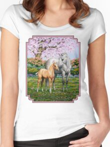 Quarter Horse Mare and Foal Pink Border Women's Fitted Scoop T-Shirt