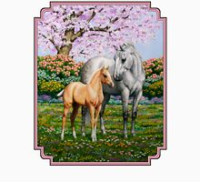 Quarter Horse Mare and Foal Pink Border Womens Fitted T-Shirt