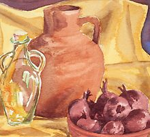 Red Onions, Still life in water colour by Emily King