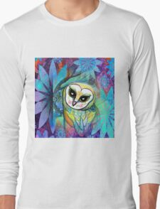 Funky Forest Blue Celtic Owl Long Sleeve T-Shirt