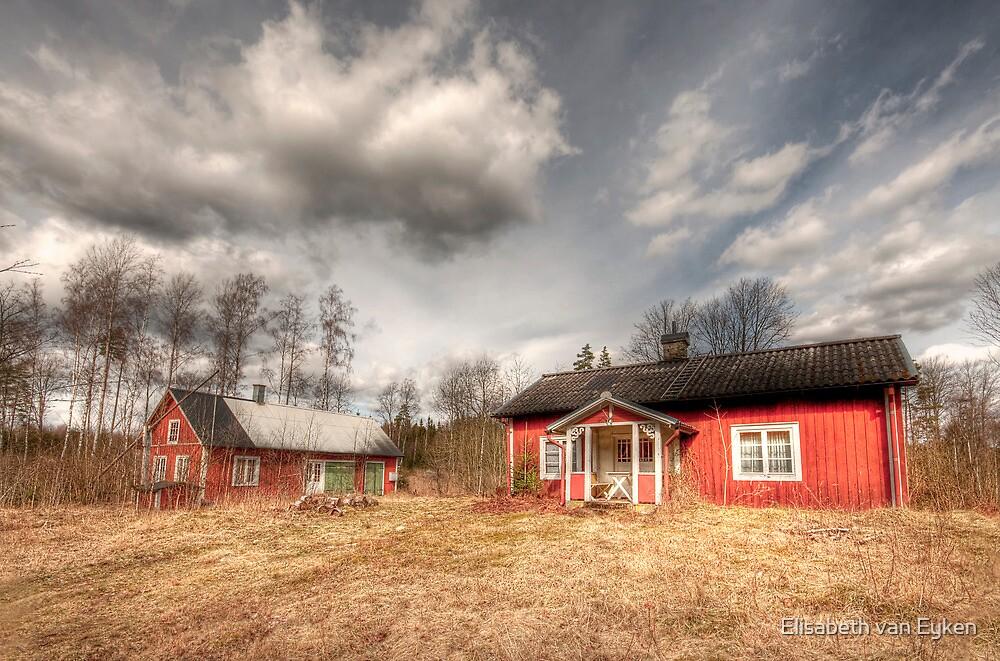 Red country house by Elisabeth van Eyken
