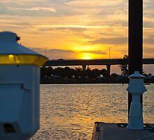 Dock Lite Sunset Stuart Florida by Henry Plumley