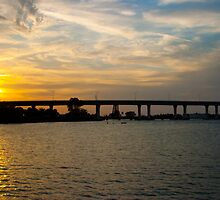 Sunset Behind Roosevelt Bridge Stuart Florida by Henry Plumley