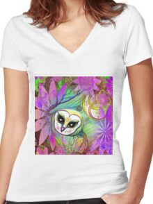 Funky Forest Pink Celtic Owl Women's Fitted V-Neck T-Shirt