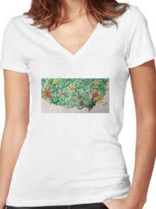 Flowers in her hair... Women's Fitted V-Neck T-Shirt