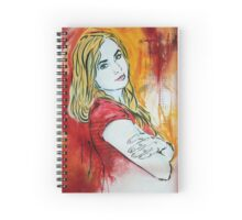 Stencil/Mixed Media Girl Spiral Notebook
