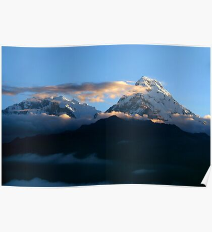 Mountains at Sunrise Poon Hill Poster