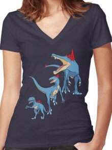 Pokesaurs - Totodilian Evolution Women's Fitted V-Neck T-Shirt
