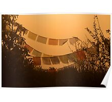 Prayer Flags and Mist Poon Hill Poster
