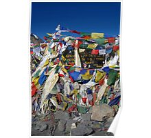 Prayer Flags top of Thorung La Poster