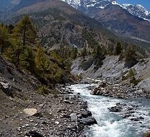 River and Mountains en route to Manang by SerenaB
