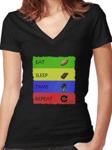 ARK EAT SLEEP TAME REPEAT Women's Fitted V-Neck T-Shirt