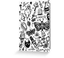 SPOOKY TATTOO FLASH SHEET Greeting Card